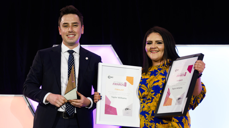 Michael Pettersson (MLA, ACT Legislative Assembly) and Taylor Williams (our indigenous apprentice) at the 2019 ACT Training Awards ceremony. Photo Credit: Skills Canberra.